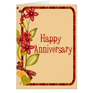 Pretty Flowers Anniversary Greeting Card