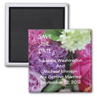 Pretty Flowers Bouquet Wedding Save the Date Refrigerator Magnet