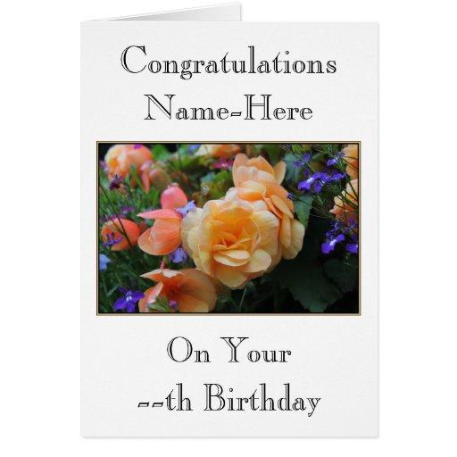 Pretty Flowers, Custom Name and Age Birthday Card.