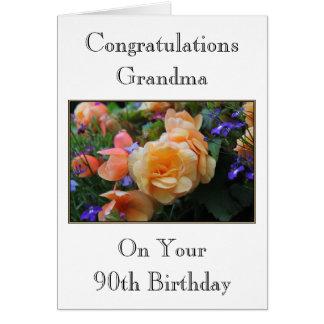 Pretty Flowers, Grandma 90th Birthday Card. Card