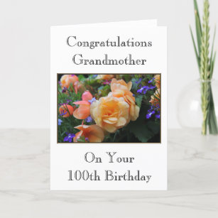 Pretty Flowers Grandmother 100th Birthday Card
