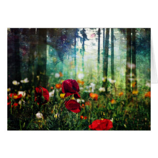 Pretty Flowers in Fantasy Forest Greeting Card
