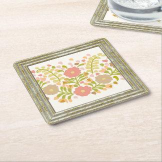 Pretty  Flowers In Multicolors Square Paper Coaster