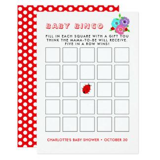 Pretty Flowers Ladybugs Cute Whimsy Baby Bingo Card