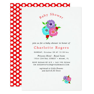 Pretty Flowers & Ladybugs Cute Whimsy Baby Shower Card