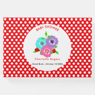 Pretty Flowers Ladybugs Cute Whimsy Personalized Guest Book