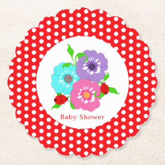 Pretty Flowers Ladybugs Cute Whimsy Personalized Paper Coaster
