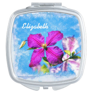 Pretty Flowers Purple and Blue Clematis With Name Vanity Mirror
