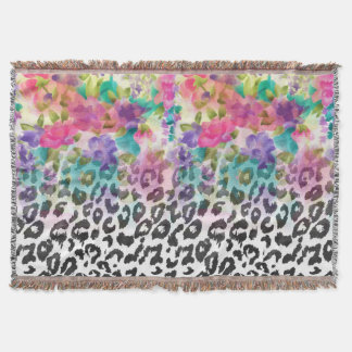 Pretty flowers Watercolor hand paint leopard Throw Blanket