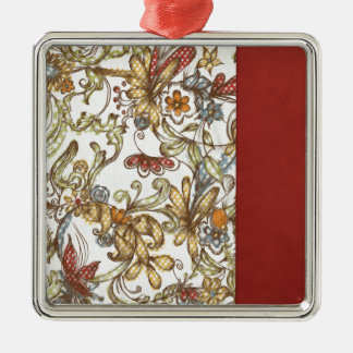 pretty flowers with Red Side Color Christmas Tree Ornament