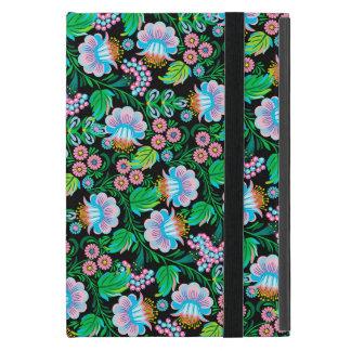 Pretty Folk Art Floral Pattern in Blue Green Pink Case For iPad Mini