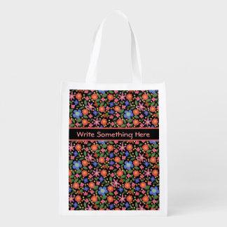 Pretty Folk Art Style Floral on Black Shopping Bag Reusable Grocery Bag