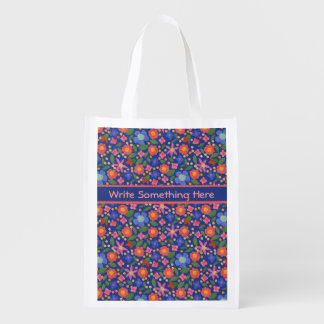 Pretty Folk Art Style Floral on Blue Shopping Bag Grocery Bags
