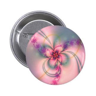 Pretty Fractal Flower Pinback Button