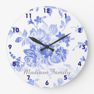 pretty french blue delft look blue white floral large clock