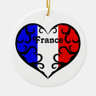 Pretty French heart on white Christmas Ornament