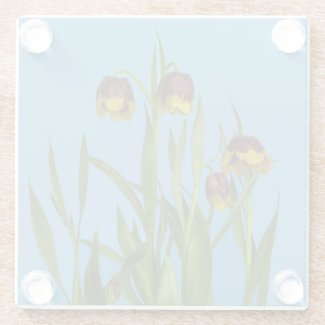Pretty Fritillary Flowers Glass Coaster