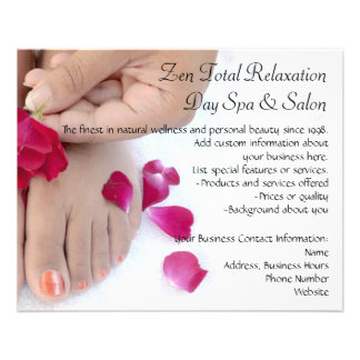 Pretty Fuchsia Pink Rose Pedicure Salon Custom Flyer