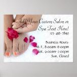Pretty Fuchsia Pink Rose Pedicure Salon Poster
