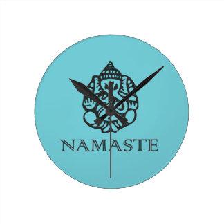 Pretty Ganesh Namaste Blue Design Round Clock