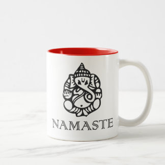 Pretty Ganesh Namaste Design Two-Tone Coffee Mug