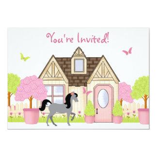 Pretty Garden Horse Birthday Party Invitations