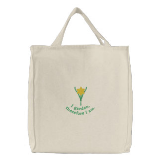 Pretty Gardener's Embroidered Tote Bag