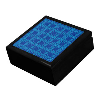 Pretty Geometric Floral in Bold Blue Trinket Boxes