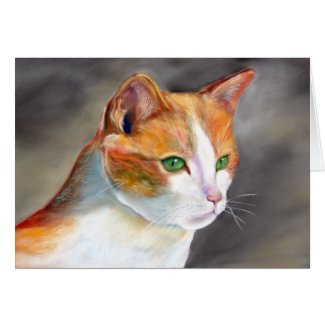 Pretty ginger cat (a348) note card title=