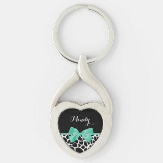 Pretty Giraffe Print Mint Green Bow With Name Key Chain