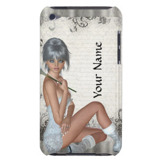 Pretty girl  and silver damask barely there iPod covers