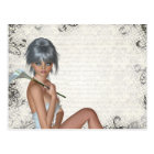 Pretty girl  and silver damask postcard