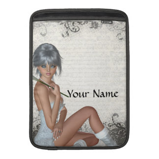 Pretty girl  and silver damask sleeve for MacBook air