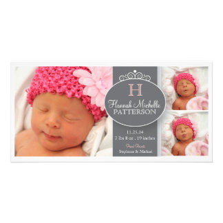 Pretty Girl Baby 3 Photo Monogram Announcement Card