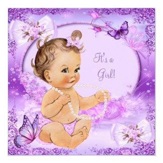 Pretty Girl Baby Shower Purple Butterfly Brunette 13 Cm X 13 Cm Square Invitation Card