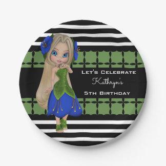 Pretty Girl Custom Birthday Paper Plate