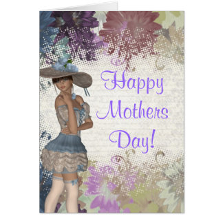 Pretty girl floral mothers day card
