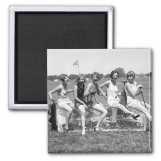 Pretty Girl Golfers, 1920s Magnet