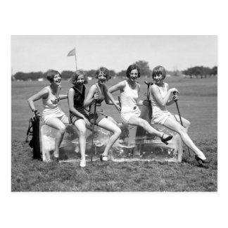 Pretty Girl Golfers, 1920s Postcard