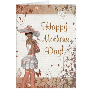 Pretty girl romantic mothers day card