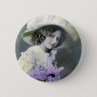"""""""Pretty Girl with Lilac"""" Vintage 6 Cm Round Badge"""