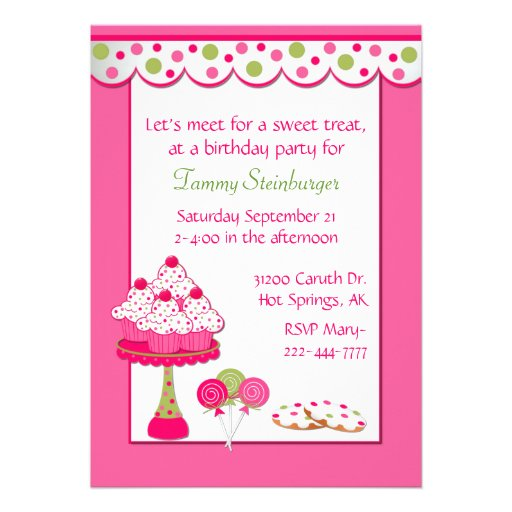 Pretty Girl's Sweets Birthday Party Invitation