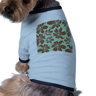 Pretty Girly Brown and Green Flowers Pattern Pet Tee Shirt