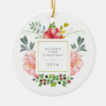 Pretty Girly Flowers Baby's First Christmas Round Ceramic Decoration