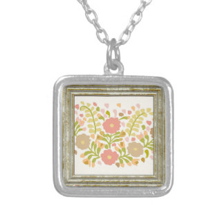 Pretty Girly Flowers In Multicolors Silver Plated Necklace