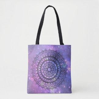 Pretty Girly Hand Drawn Purple Galaxy Mandala Tote Bag