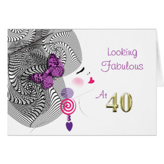 Pretty Girly Looking Fabulous At Forty Greeting Card