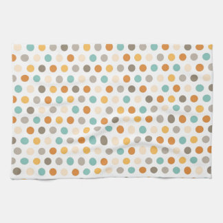 Pretty Girly Multi Color Polka Dots Orange Blue Tea Towel