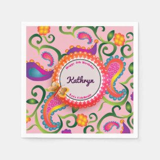 Pretty & Girly Paisley Birthday Paper Napkin
