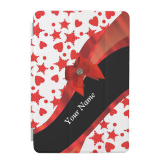 Pretty girly personalized red and white iPad mini cover